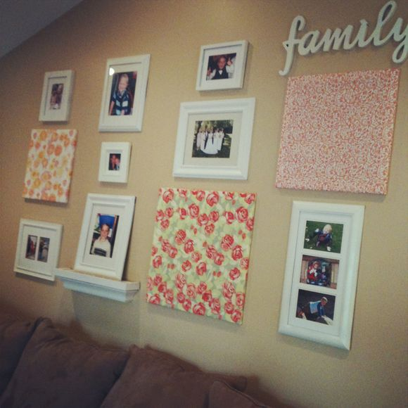 Family Photo Wall with Fabric Accents