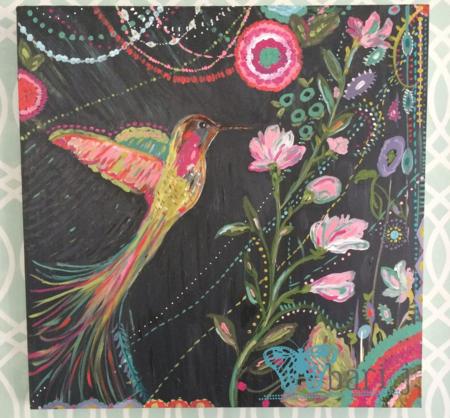 "hummingbird by Bari J. 24"" acrylic on canvas"