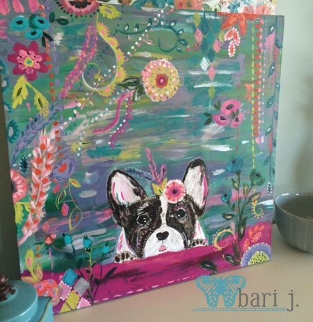 "French Bull Dog by Bari J. 24"" acrylic on canvas"