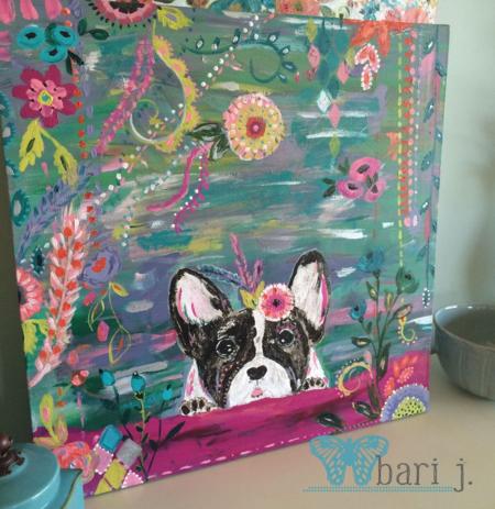 "French Bull Dog by Bari J. 24"" acrylic on canvas"