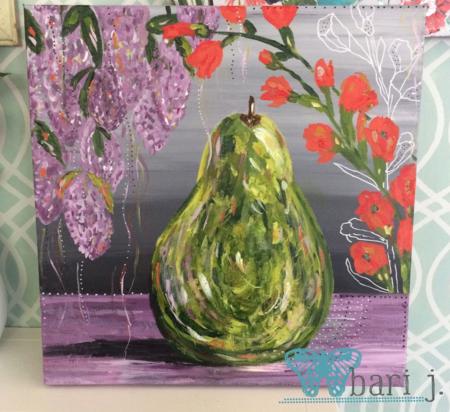 "Pear by Bari J. 24"" acrylic on canvas"