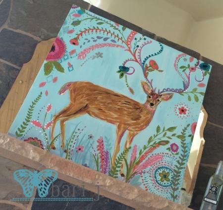 "Deer by Bari J. 24"" acrylic on canvas"