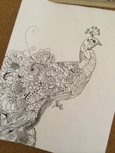 Bari J. initial sketch for Petal and Plume #art